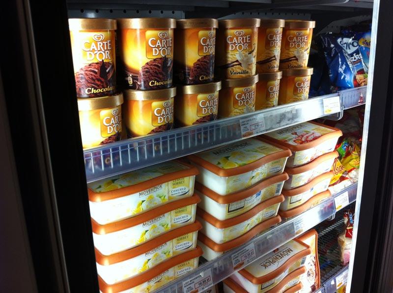 Ice cream in a freezer unit